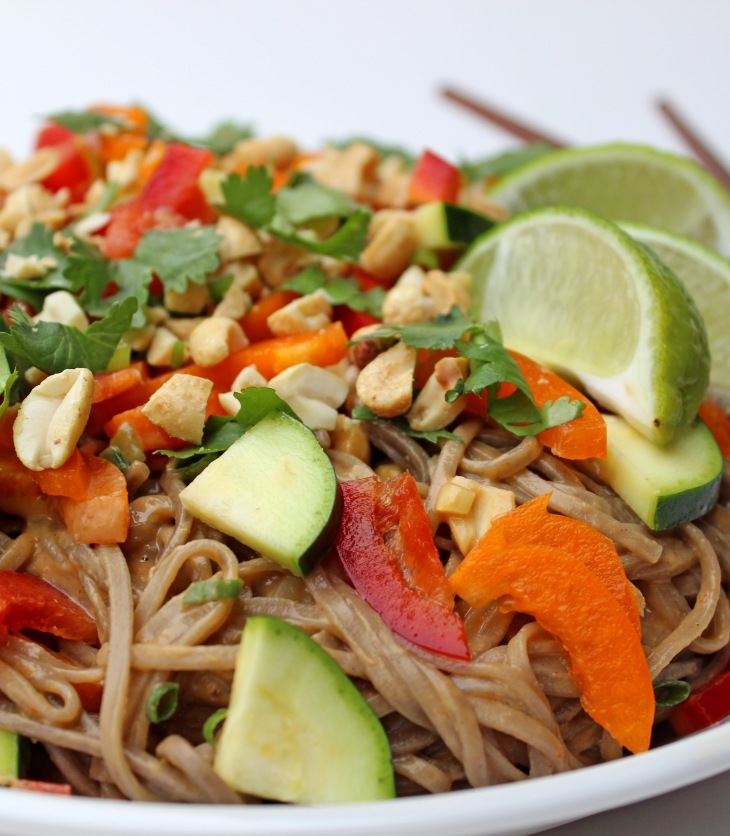 Soba noodles blend nicely with raw vegetables and a tangy, creamy dressing