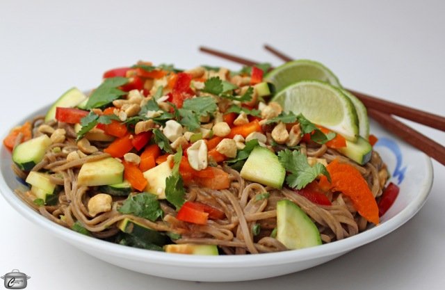 Soba noodles raw vegetables peanut sauce vegan