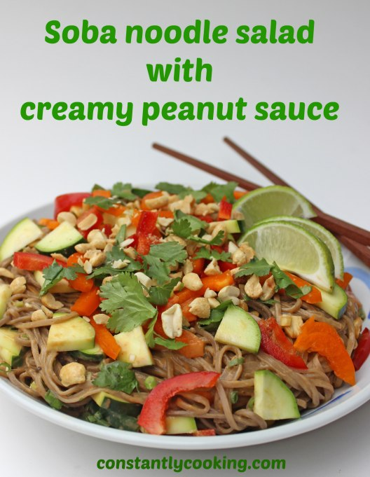 Soba noodles all dressed up with raw vegetables and a tangy, creamy peanut sauce - a great vegan dish that everyone will love!