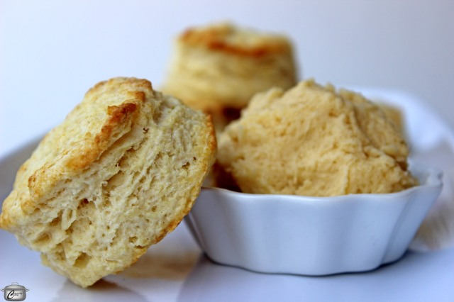 Baking powder biscuits with maple butter are a delicious treat.