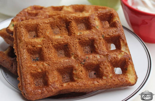 cornbread waffle with chives