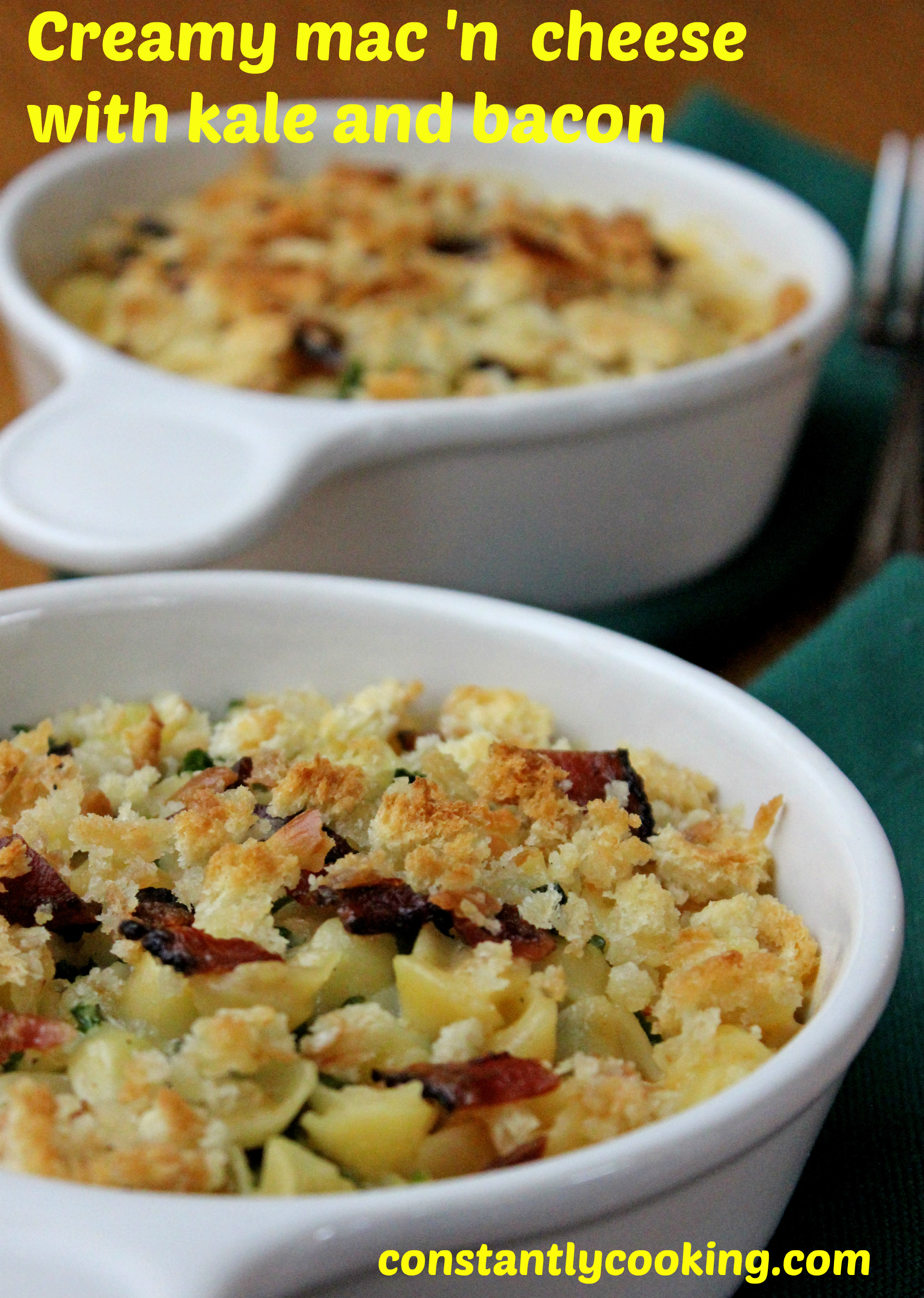 Creamy macaroni and cheese with kale and bacon ...
