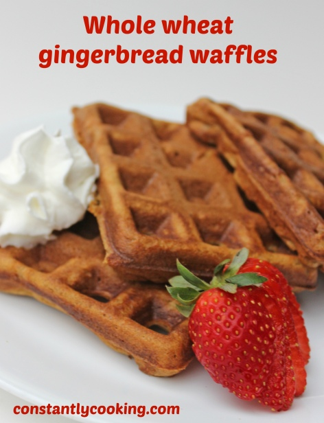 Whole wheat gingerbread waffles are a hearty, healthy breakfast or lunch option