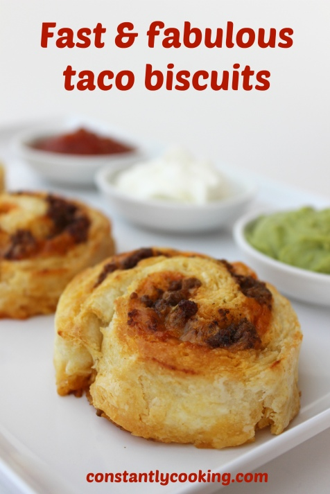 Roll-up baking powder biscuits with taco filling