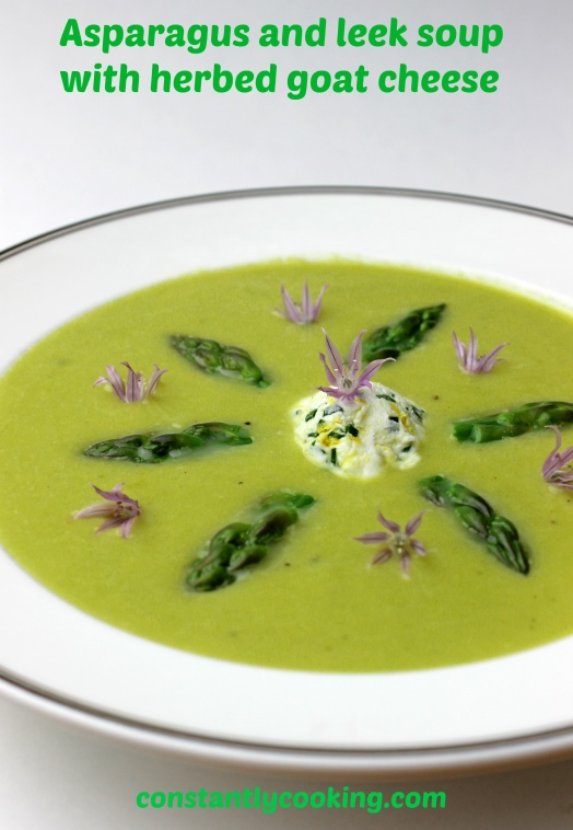 asparagus and leek soup with herbed goat cheese