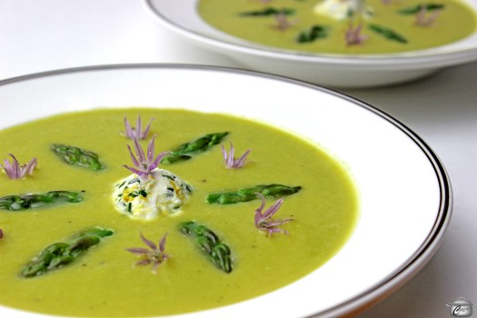 asparagus soup with herbed goat cheese