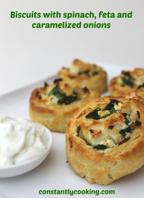 Quick biscuit dough stuffed with spanakopita-inspired filled