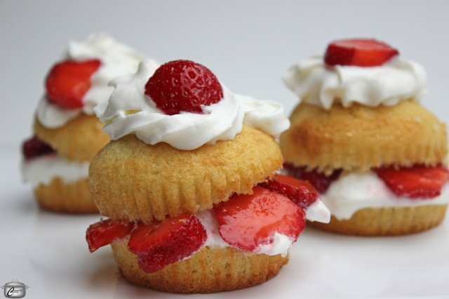 cupcakes grilled and filled with whipped cream and strawberries