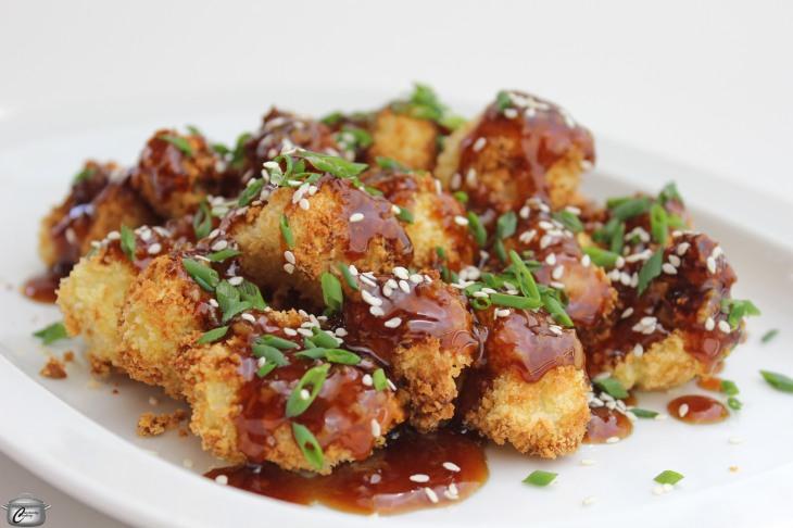 cauliflower nuggets with honey-garlic sauce