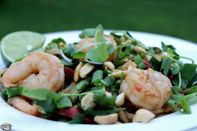 Pad Thai with shrimp asparagus and pea shoots
