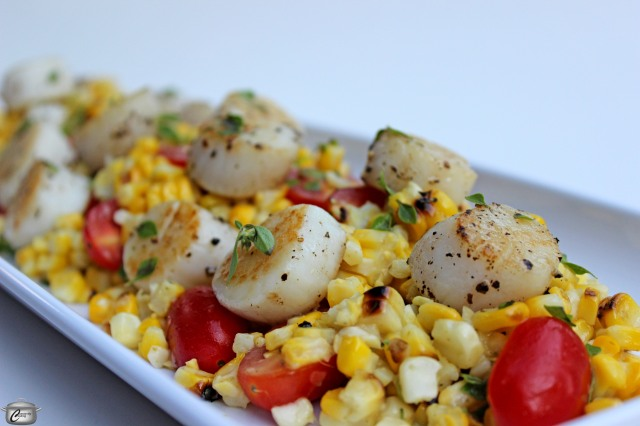 grilled corn on the copy grape tomatoes caper vinaigrette and seared scallops