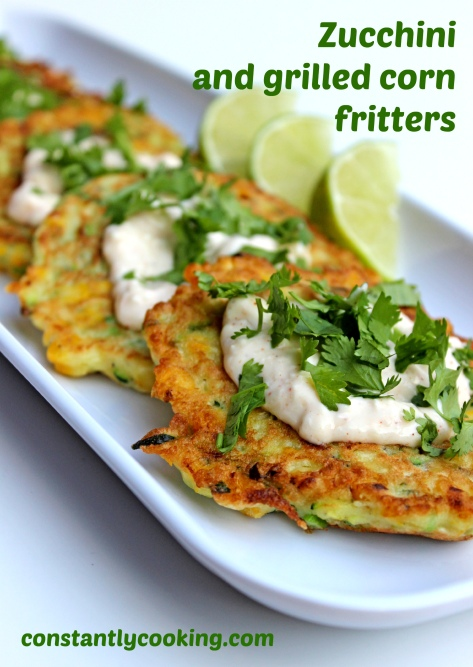 grated zucchini grilled fresh corn in a light and crispy fritter