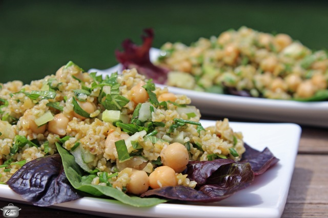delicious nutritious hearty dish with bulgur or freekeh plus herbs and chickpeas