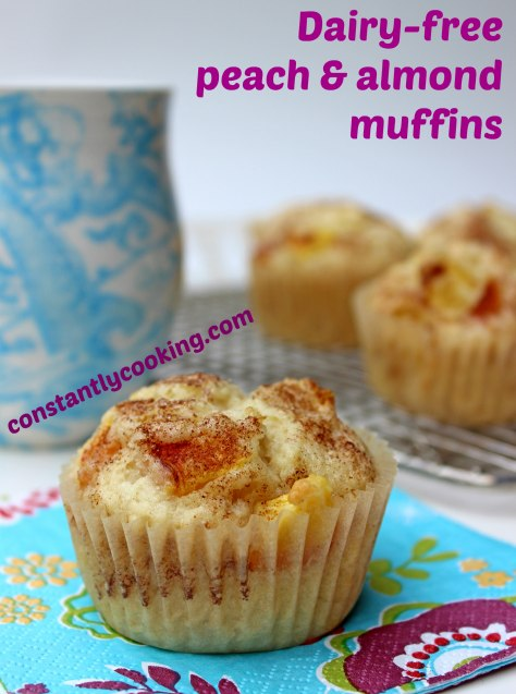 delicious muffins made with peaches, almonds and almond milk