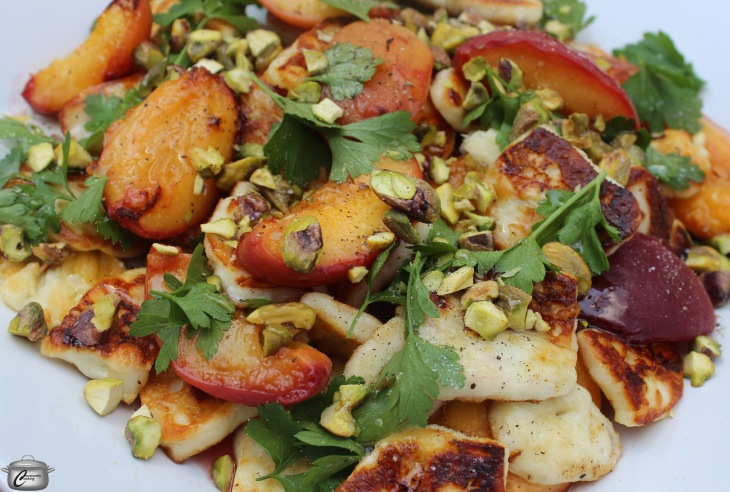 grilled peaches grilled halloumi