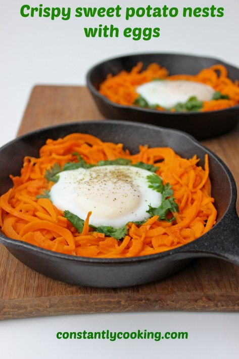 crispy sweet potato nests with eggs