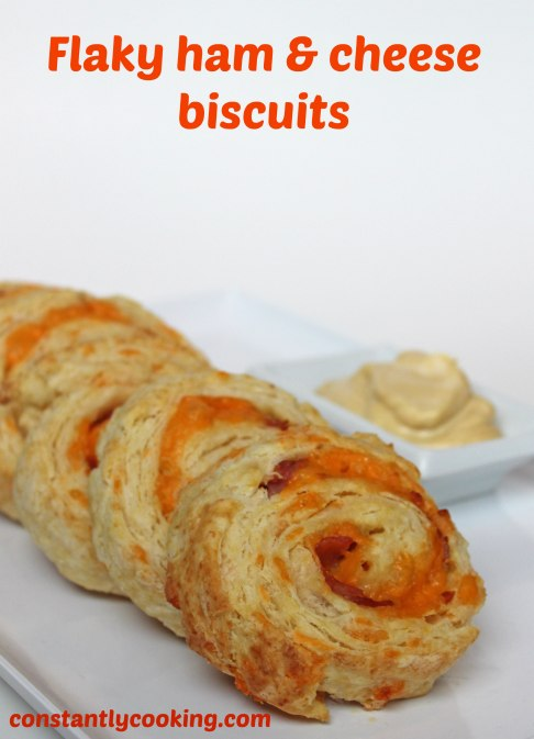 Buttery, flaky biscuit dough rolled up around a ham and cheese filling