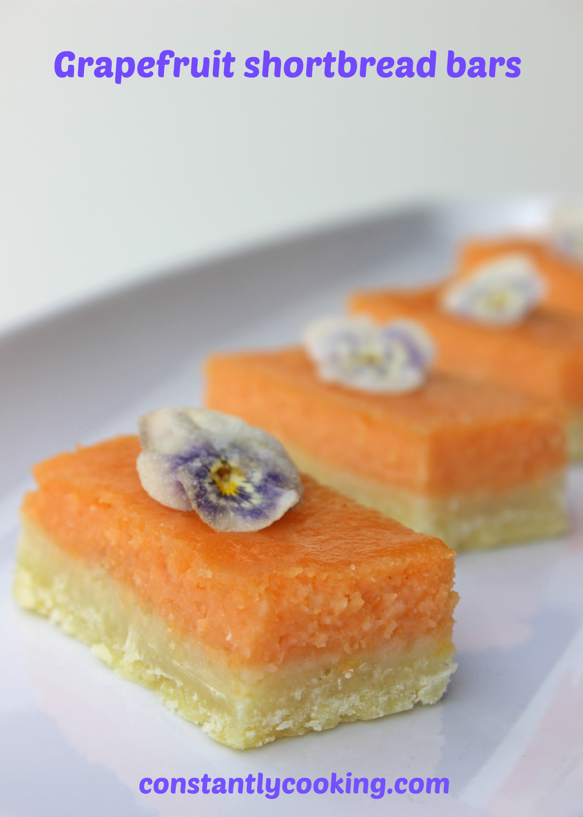 Grapefruit and vanilla curd on a shortbread base made for a truly delicious dessert