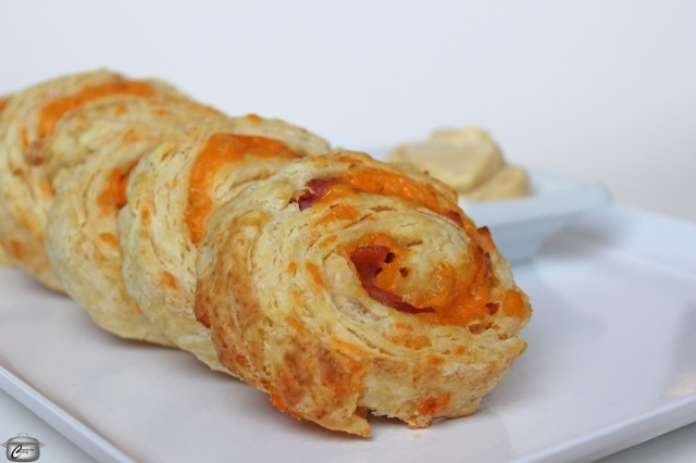 Buttery, flaky biscuit dough rolled up with a ham and cheese filling