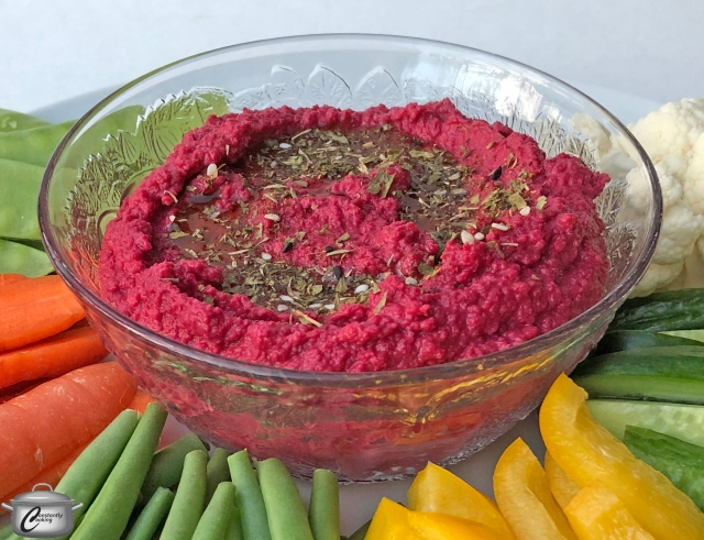 Beet and chickpea hummus is quick and easy to make in an InstantPot or Pressure cooker
