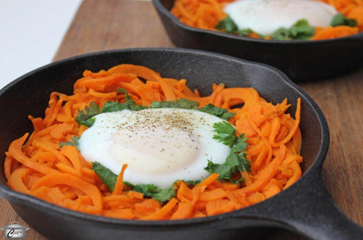 a crispy sweet potato 'nest' topped with a perfectly-cooked egg