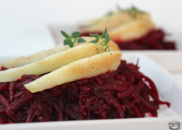 sauteed beets with a little balsamic, topped with warm sauteed pear slices makes for an easy, elegant appetizer.