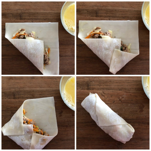 it's surprisingly easy to fold up wonton wrappers over egg roll filling