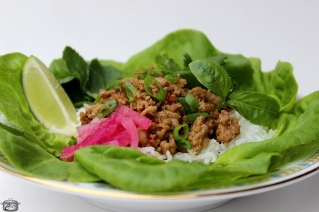 seasoned ground meat served with fresh herbs and pickled onions